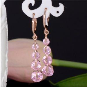 Jewelry - 14K Gold Water Drop Pink Austrian Crystal Earrings